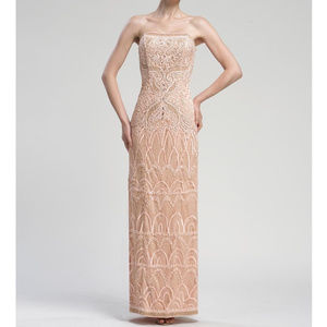 Sue Wong Long Luxurious Lace Strapless NUDE 4 #182